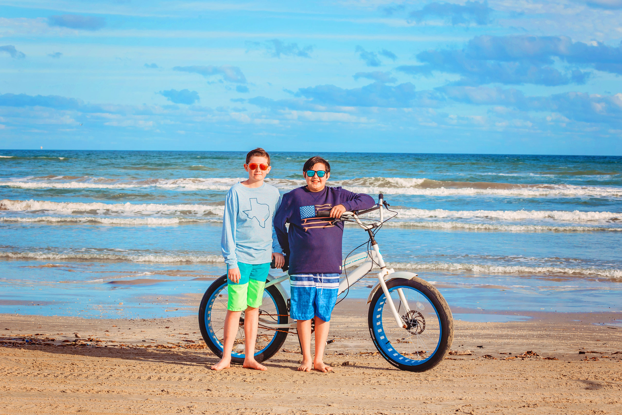 Keegan and Delsyn took part in some beach bike riding.